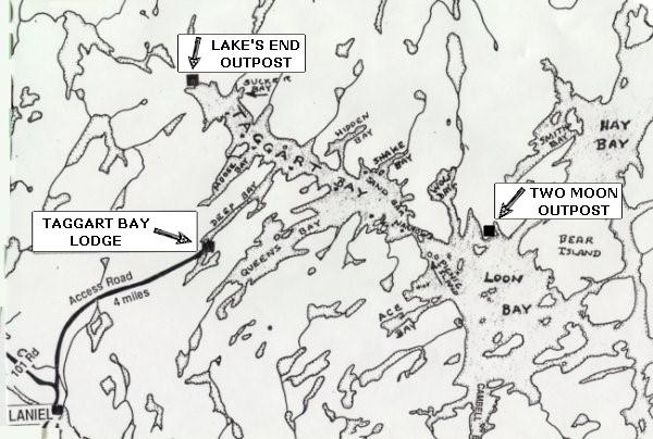 Location of Taggard Bay Lodge Lake Kipawa Quebec Canada